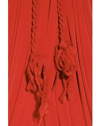 Lanvin - Red Draped Belted Crepe-jersey Dress - Lyst