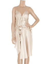 Lanvin White Draped Silk Satin Dress