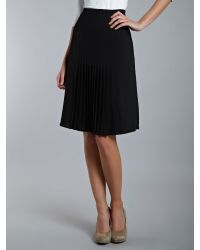 Lauren by Ralph Lauren Black Mid Rise Pleated Skirt