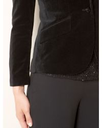Lauren by Ralph Lauren Black Velvet Jacket with Button Fastening