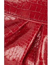 Lauren Merkin Red Eve Crocodileeffect Leather Clutch