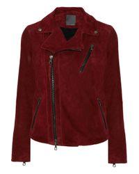 Lot78 Red Zoe Suede Biker Jacket
