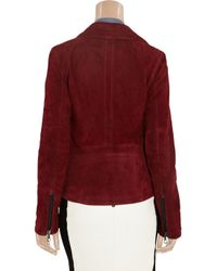 Lot78 | Red Zoe Suede Biker Jacket | Lyst