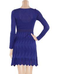 M Missoni Blue Crochet-knit Cotton-blend Mini Dress