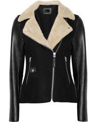 Mackage Black Danica Woolblend and Leather Jacket