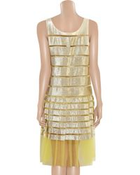 Marc Jacobs Metallic Lamé and Mesh Striped Dress
