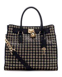 MICHAEL Michael Kors | Black Large Hamilton Grommet Tote Bag | Lyst