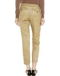 Michael Kors Cropped Metallic Brocade-crepe Tapered Pants