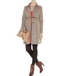 Miu Miu Brown Wool Blend Tweed Coat