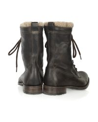 NDC Brown Leather and Shearling Ankle Boots