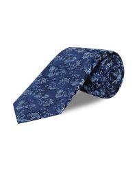 New & Lingwood Blue Floral Silk Tie for men