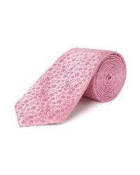 New & Lingwood Pink Ditsy Floral Silk Tie for men