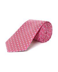 New & Lingwood Pink Paisley Geometric Silk Tie for men