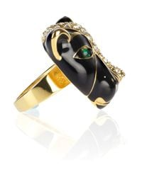Noir Jewelry - Black Enamel and Crystal Panther Ring - Lyst