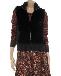N.Peal Cashmere Black Rabbit and Cashmere Vest