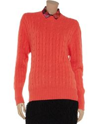 N.Peal Cashmere Orange Cableknit Cashmere Sweater
