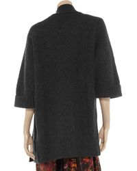 N.Peal Cashmere Gray Basketweave Cashmere Cardigan
