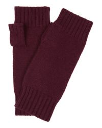N.Peal Cashmere Red Fingerless Cashmere Gloves