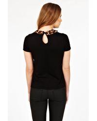 Oasis Black Animal Print Collar Tee