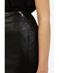 Oasis Black Pu Side Split Skirt