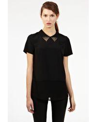 Oasis Black Stud Collar Top