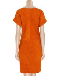 Ralph Lauren Collection Orange Shiloh Suede Dress