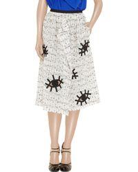 Roland Mouret White Archie Appliquéd Cotton blend Skirt