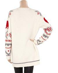 Stella McCartney White Polar Bear Intarsia Wool and Alpacablend Sweater