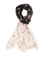 Ted Baker Black Lassy French Bull Dog Printed Scarf