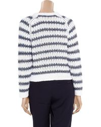 Theyskens' Theory White Koro Striped Cotton and Linen-blend Sweater