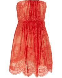 Tibi   Red Strapless Lace and Silk Dress   Lyst