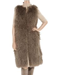 Tory Burch Natural Katrina Shearling and Leather Vest