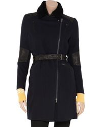 Vanessa Bruno Athé Black Leather and Shearlingtrimmed Woolblend Coat