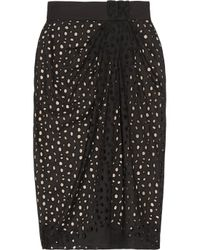 Vionnet | Black Cotton Eyelet Skirt | Lyst