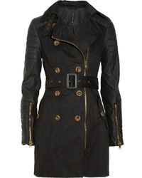 W118 by Walter Baker Black Keanu Faux Leathersleeved Cottontwill Trench Coat