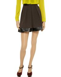 W118 by Walter Baker Brown Dena Faux Leathertrimmed Melange Skirt