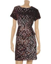 W118 by Walter Baker Black Peggy Printed Chiffon Peplum Dress