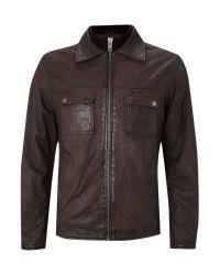 Without Prejudice Brown Four Pocket Leather Jacket for men