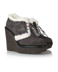 Saint Laurent Gray Shearlinglined Suede Ankle Boots