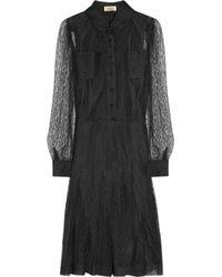 Saint Laurent - Black Lace Shirt Dress - Lyst