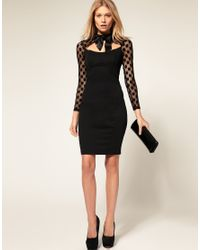 ASOS Collection - Black Asos Petite Exclusive 40s Dress with Spot Mesh Sleeves and Pussybow - Lyst