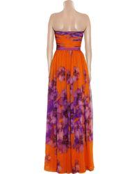 Giambattista Valli Multicolor Floral-print Silk-chiffon Gown