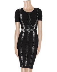 Hervé Léger - Black Ring-embellished Bandage Dress - Lyst