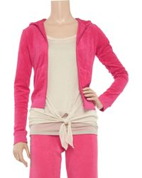 Juicy Couture Red Basic Terry Long Sleeve Zip Track Jacket