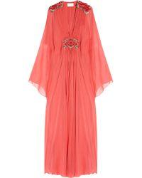 Marchesa | Pink Appliquéd silk-chiffon gown | Lyst