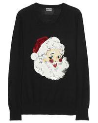 Markus Lupfer Black Santa Claus Sequined Merino Wool Sweater