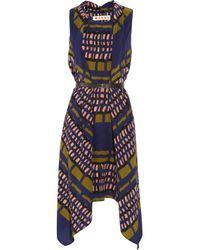Marni Blue Printed Silkcrepe Dress