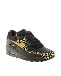 Nike | Black Air Max 90 08 Gold Leopard Sneakers | Lyst