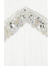 Notte by Marchesa White Embellished Silk Crepe Halterneck Gown