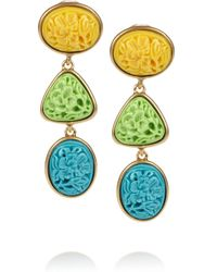 Oscar de la Renta | Metallic 24karat Gold-Plated Carved Cabochon Clip Earrings | Lyst